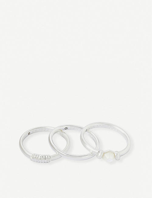 KENDRA SCOTT Ellms mother of pearl and silver-plated rings set of 3