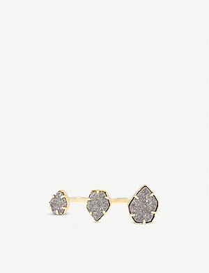 KENDRA SCOTT Naomi 14ct gold-plated and platinum drusy ring