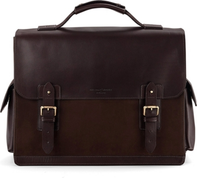ASPINAL OF LONDON Shadow leather and nubuck briefcase