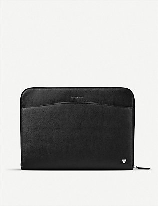 ASPINAL OF LONDON: Zipped leather laptop case