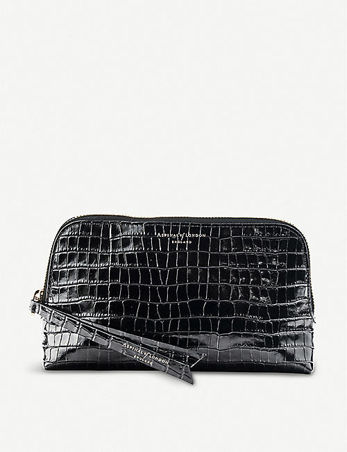 ASPINAL OF LONDON: Essential crocodile-embossed leather cosmetic case