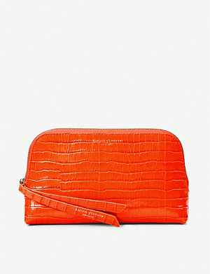 ASPINAL OF LONDON Essential croc-embossed small leather cosmetic case