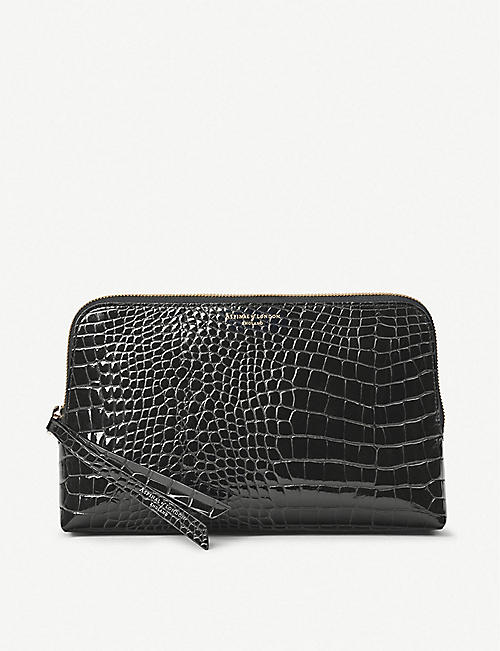 ASPINAL OF LONDON Essential croc-embossed large leather cosmetic case