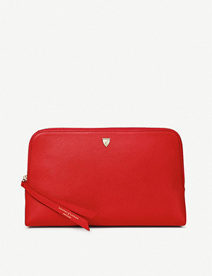 ASPINAL OF LONDON Essential large grained-leather cosmetic case