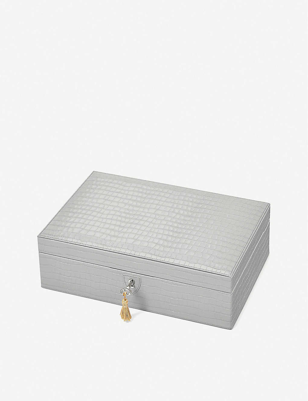ASPINAL OF LONDON: Savoy croc-embossed leather jewellery box