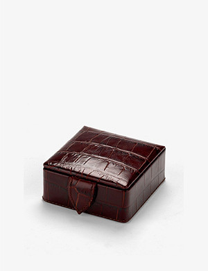 ASPINAL OF LONDON Crocodile-embossed leather stud box