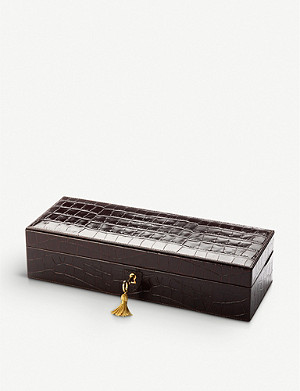 ASPINAL OF LONDON Croc-embossed leather five-watch box 31cm