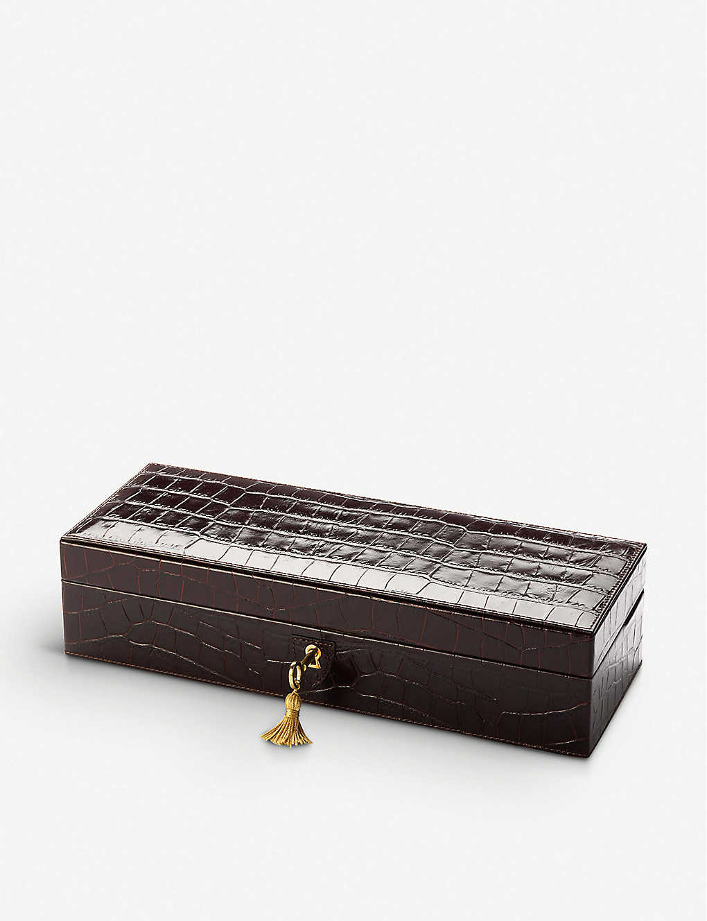 ASPINAL OF LONDON: Croc-embossed leather five-watch box 31cm