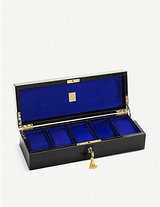 ASPINAL OF LONDON: Croc-embossed leather five watch box