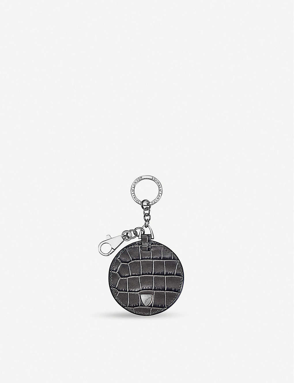 ASPINAL OF LONDON: Disc leather keyring