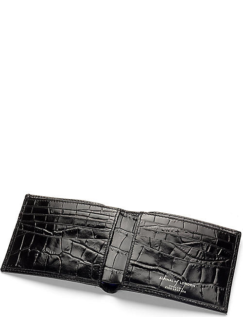 ASPINAL OF LONDON Billfold croc-embossed leather wallet