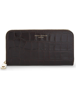 ASPINAL OF LONDON Croc-embossed leather continental clutch wallet