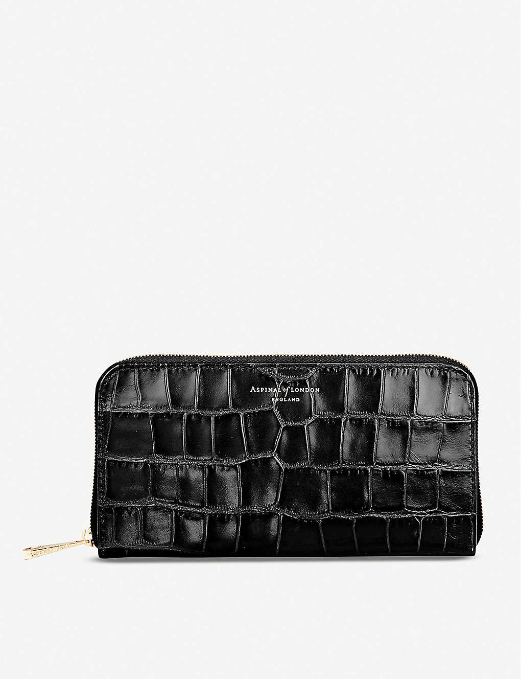ASPINAL OF LONDON: Continental mock-croc leather clutch wallet