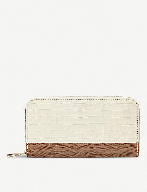 28f7d957bf ASPINAL OF LONDON Continental clutch lizard and crocodile-embossed leather  wallet