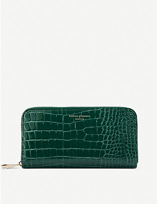 ASPINAL OF LONDON: Crocodile-embossed patent-leather continental clutch wallet