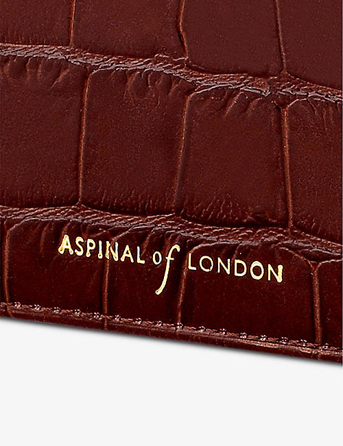ASPINAL OF LONDON Croc-embossed double-fold leather card holder