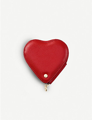 ASPINAL OF LONDON: Logo-embossed heart-shaped leather coin purse