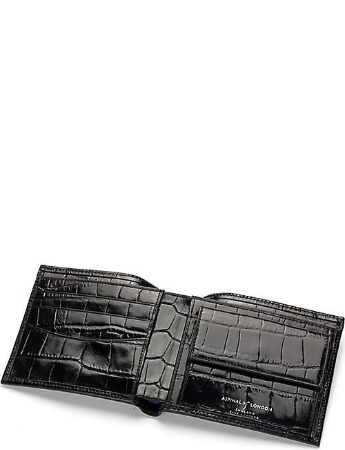 ASPINAL OF LONDON Billfold crocodile-embossed leather coin wallet