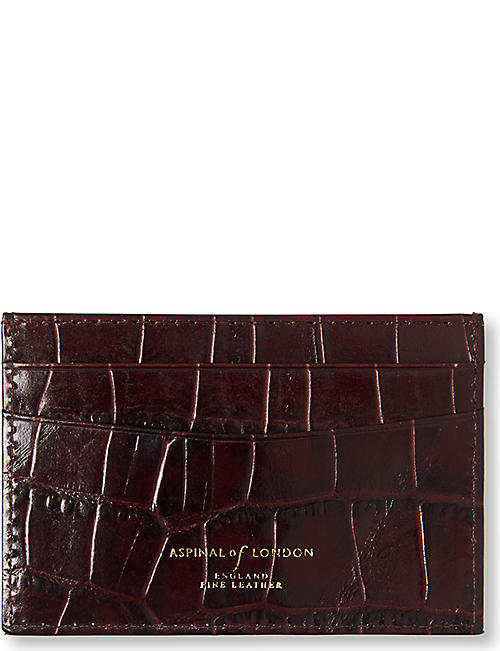 7a34f7656ee ASPINAL OF LONDON Mock crocodile slim credit card case