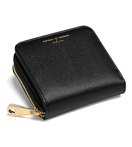 0928cdc53382 ASPINAL OF LONDON Mini continental leather coin purse (Black