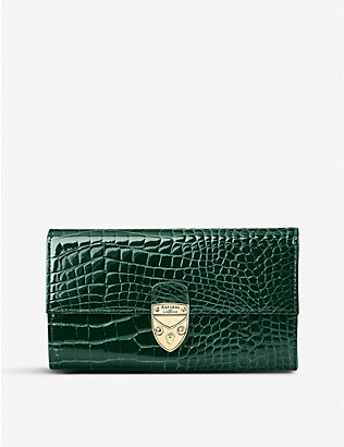ASPINAL OF LONDON: Mayfair crocodile-embossed leather purse