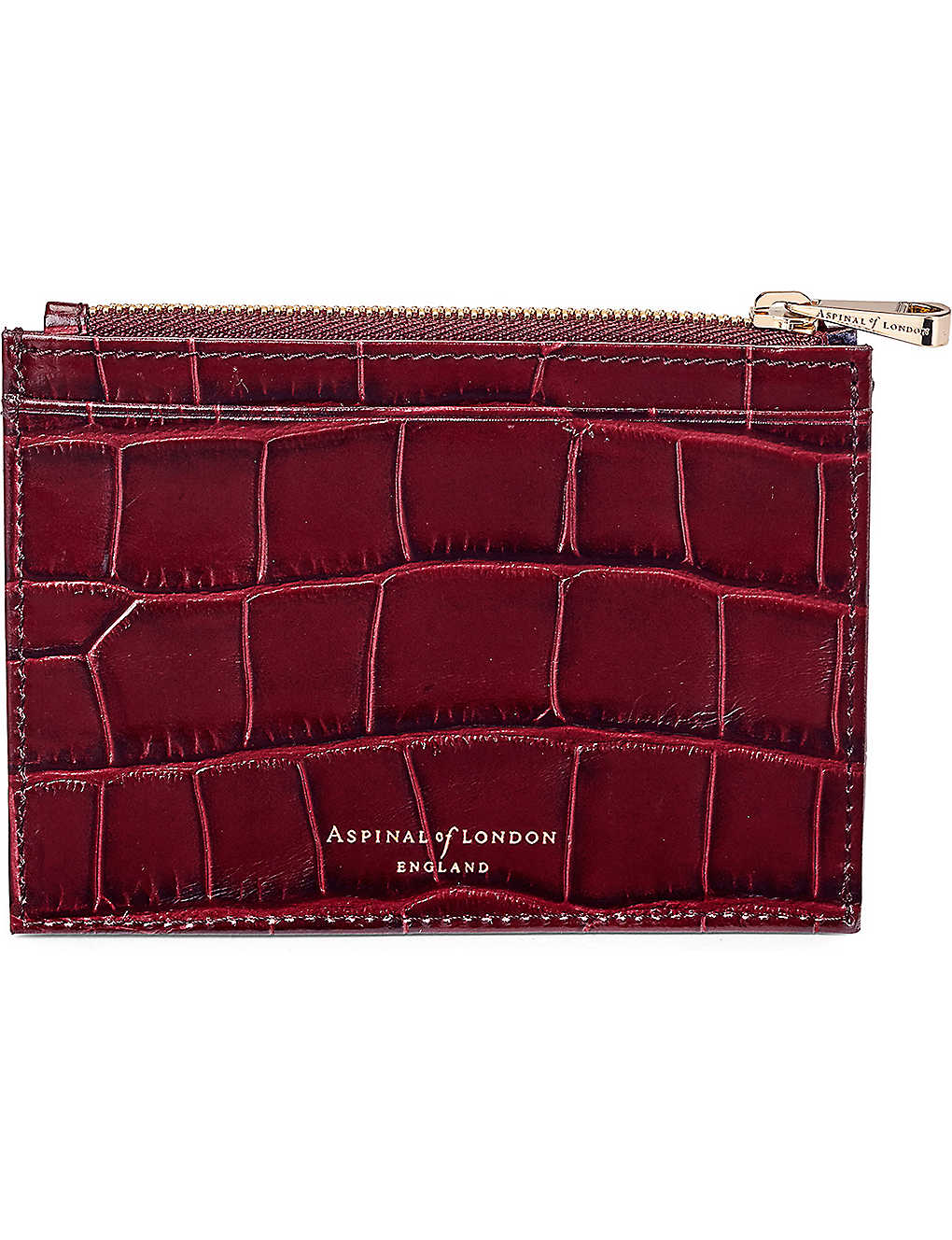 ASPINAL OF LONDON: Reptile-effect leather double-sided coin and credit card holder