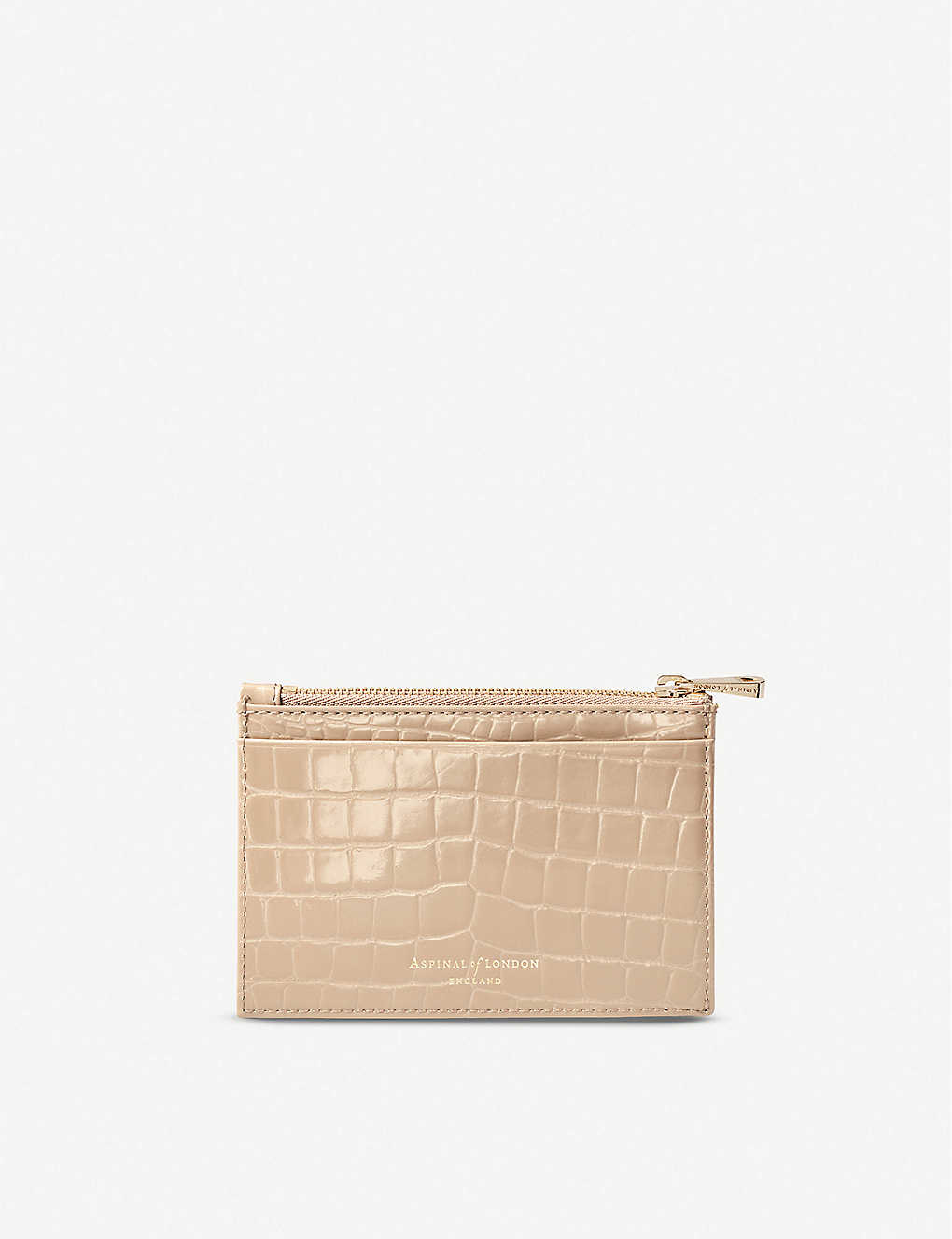 ASPINAL OF LONDON: Croc-embossed double-sided leather card holder