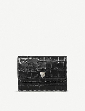 ASPINAL OF LONDON Accordion crocodile-embossed leather card holder