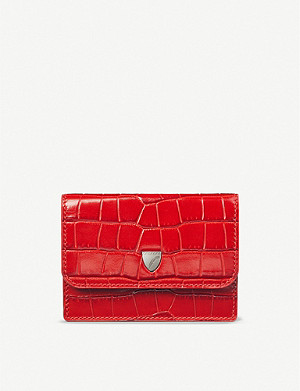 ASPINAL OF LONDON Accordion croc-embossed leather card holder