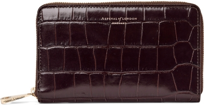 ASPINAL OF LONDON Continental croc-embossed leather purse