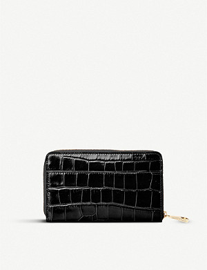 ASPINAL OF LONDON Continental midi croc-embossed leather wallet