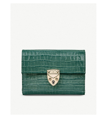 Aspinal Of London MAYFAIR CROCODILE-EMBOSSED SMALL LEATHER WALLET