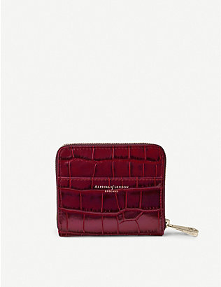 ASPINAL OF LONDON: Slim Mini Continental crocodile-embossed leather purse