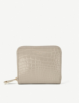 ASPINAL OF LONDON Slim Mini Continental crocodile-embossed leather purse