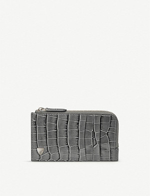 ASPINAL OF LONDON Zipped croc-embossed leather card wallet