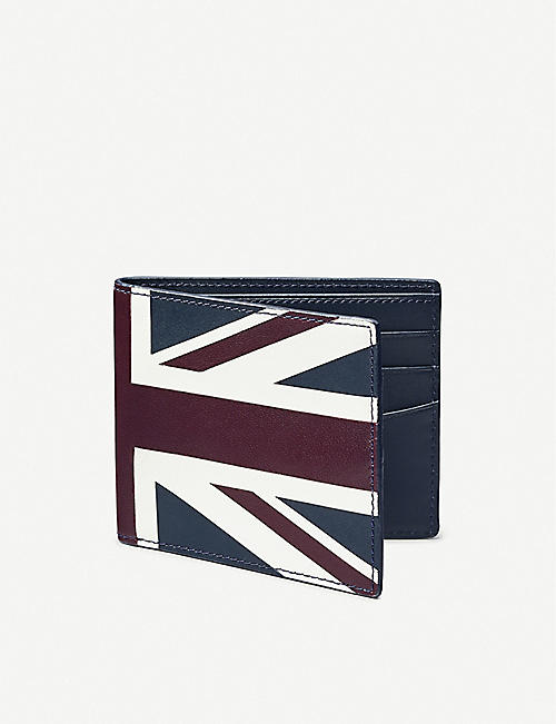 ASPINAL OF LONDON: Billfold flag-print leather wallet
