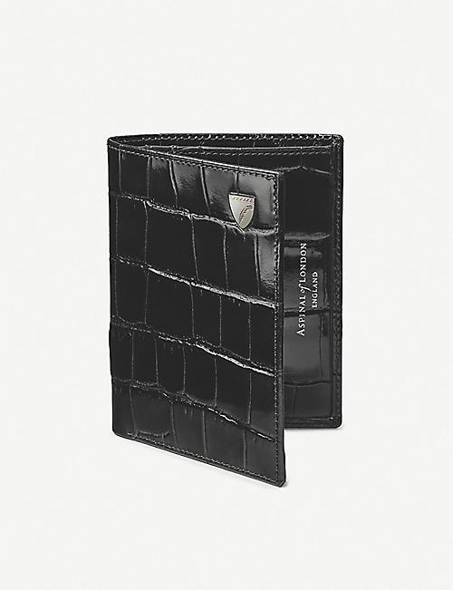 ASPINAL OF LONDON: Logo-detail crocodile-embossed leather credit card wallet with notes pocket