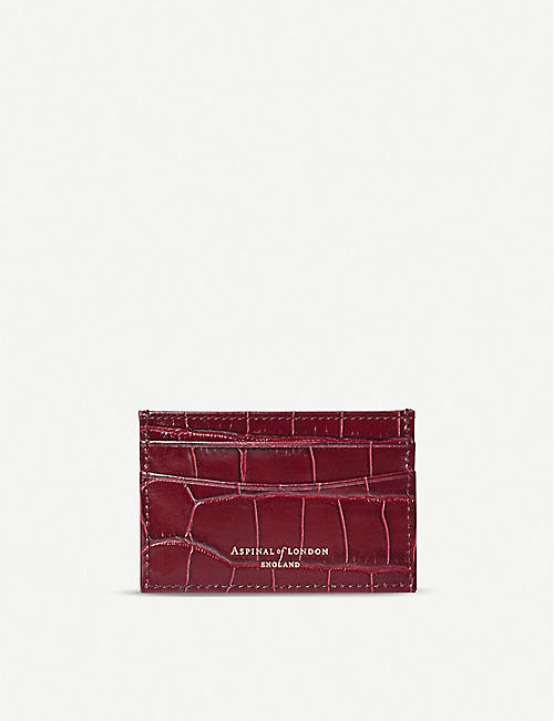 ASPINAL OF LONDON: New Slim croc-embossed leather cardholder