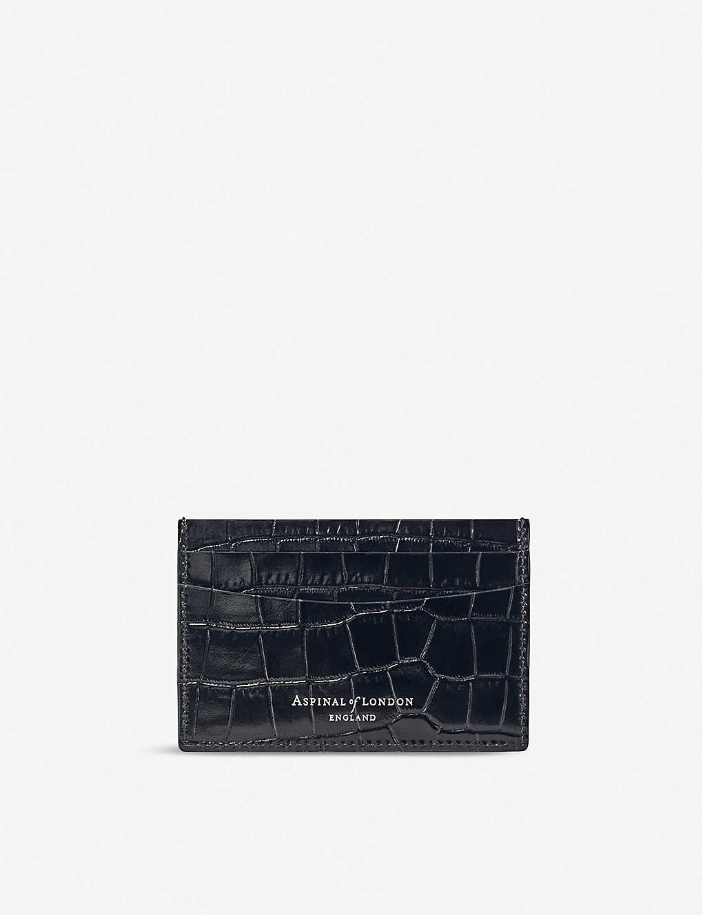 ASPINAL OF LONDON: Slim croc-embossed leather cardholder