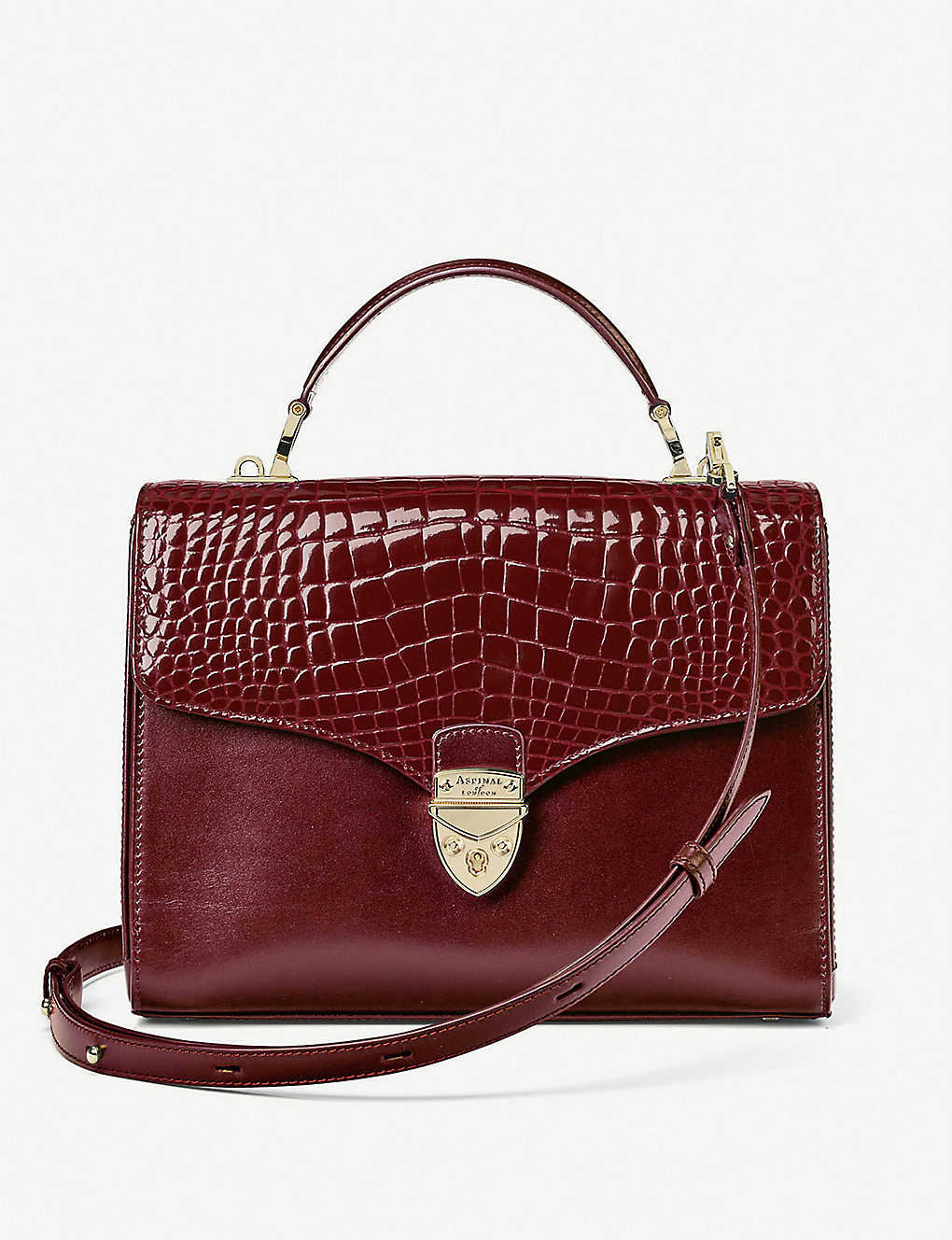 ASPINAL OF LONDON: Mayfair crocodile-embossed leather cross-body bag