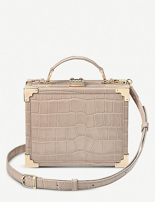 7a38354cb13a ASPINAL OF LONDON Mini Trunk crocodile-embossed leather clutch bag