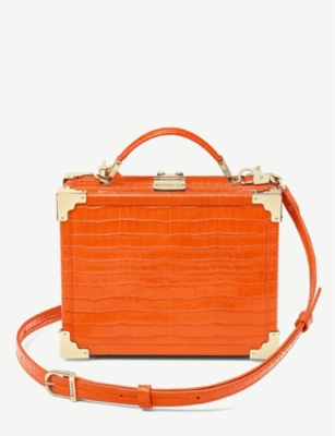 ASPINAL OF LONDON Trunk mini crocodile-embossed leather clutch bag
