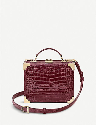 ASPINAL OF LONDON: Mini Trunk crocodile-embossed leather clutch bag