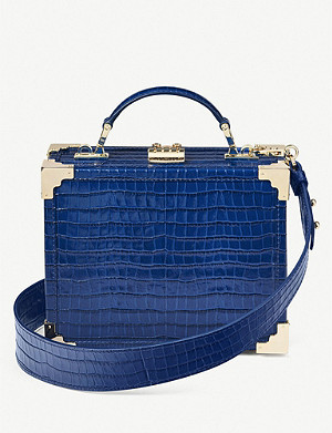 ASPINAL OF LONDON Trunk mini croc-embossed leather clutch bag