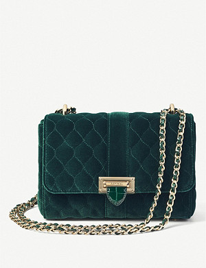 ASPINAL OF LONDON Lottie quilted velvet cross-body bag