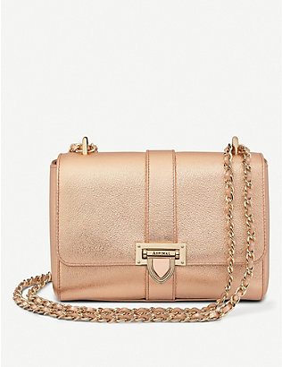 ASPINAL OF LONDON: Lottie metallic leather cross-body bag