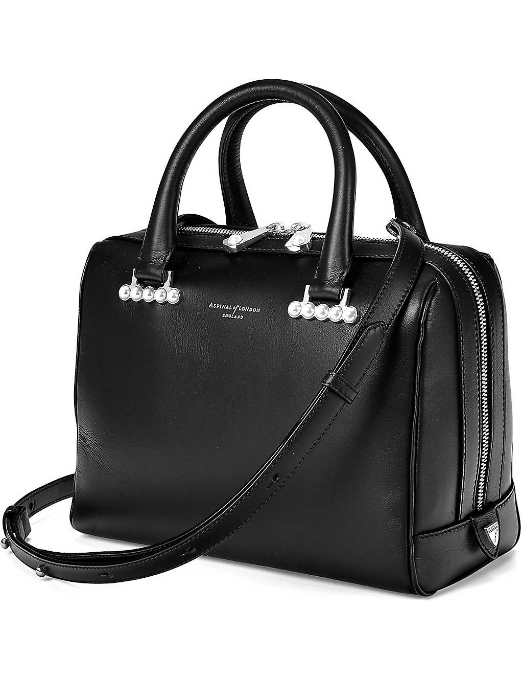 ASPINAL OF LONDON - Mini Pearl leather bowling bag small ...