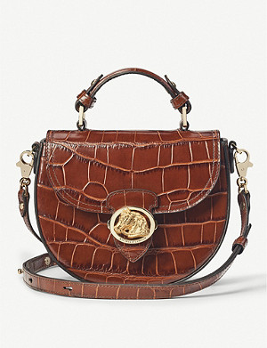 ASPINAL OF LONDON Equestrian Portobello crocodile-embossed leather saddle bag