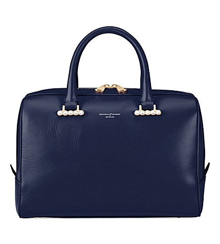 ASPINAL OF LONDON Pearl-embellished leather bag (Blue+moon