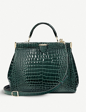 ASPINAL OF LONDON Small Florence Frame crocodile-embossed leather bag
